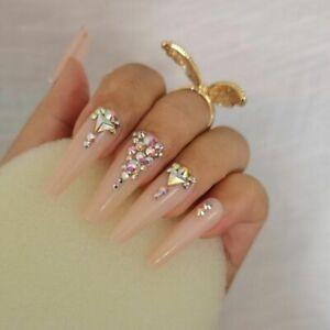 Luxury Fake Nails Designer Long Coffin Pre-designed Press On Bridal Diamond Pink