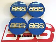 """NEW"" REAL BBS BLUE GOLD 3D LOGO 4 TAB 70mm CENTER CAPS 56.24.132 or 56.24.120"