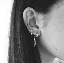 5pcs/set Punk Chain Tassel Leaf Ear Cuff Ear Clip Crystal Earrings Set For Women