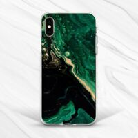 Emerald Green Gold Black Oil Marble Case For iPhone 7 8 Xs XR 11 Pro Plus Max SE