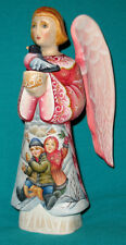 """WONDERFUL! """"Angel With A Bird"""" Russian Hand Carved And Painted WOODEN FIGURE"""