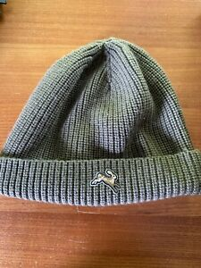 Tracksmith Running Beannie Hat (Green, 100% Merino Wool)