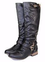 Chapter-13 New Knee High Zipper Buckles Low Heel Comfort Women's Boots Black