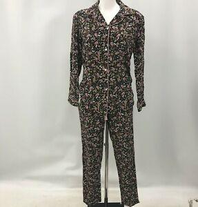 New Next Pyjamas Black Size UK 8R Floral Patterned Long Sleeve Buttoned 494426
