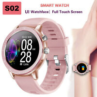 S02 Smart Watch Women Men Heart Rate Monitor Fitness Tracker 1.3 Inch Full Round