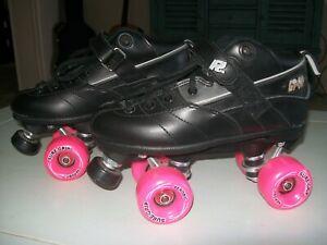 Sure Grip GT-50 Black ROCK Quad Roller Skates with Pink Aerobic Wheels Size 7