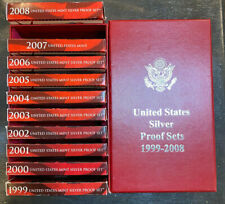 1999 - 2008 SILVER PROOF SETS COMPLETE WITH C.O.A.'S and STORAGE BOX