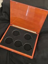 Polished Wood box for 5 oz Silver America the Beautiful Coins (5 open spots). A