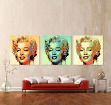 CLOSER - MARILYN MONROE - POP ART Leinwand 3 Bilder über Sofa Bild Kunstdruck