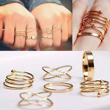 6PCS/Set Women Lady Gold Plated Fashion Plain Band Midi Ring Above Knuckle Ring