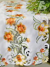 Oblong Table Runner, Embroidered  Orange Flowers, 40x90cm (16x36in) FFDWY52