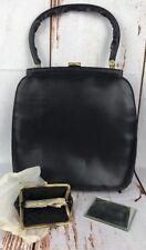 Vtg Tano Purse Handbag Coin Purse Mirror Black Patent Leather Madrid Spain Lot