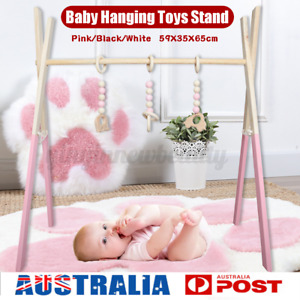 Baby Activity Gym Hang Play Fitness Wooden Toy Learning Fun Mobile Hanging Decor