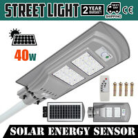 40W LED Solar Motion Activated Sensor Wall Street Light Lamp Path Outdoor Park