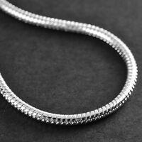 3MM Women Fashion 925 Sterling Silver Plated Charm Snake Chain Bracelet Bangle