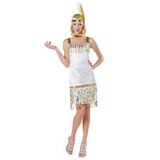 White Fringe Flapper Halloween Costume Dress Headpiece Women Medium M