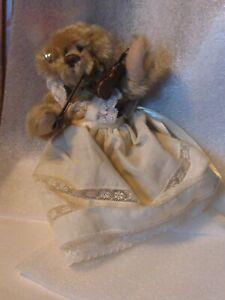 "Artist OOAK Vintage delightful 7"" mohair bear play violin jointed dress PRISTINE"