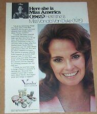 1975 print ad page -Miss America 1965 VONDA VAN DYKE Vanda Cosmetics advertising