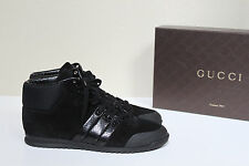 sz 9.5 / 39.5 GUCCI Miro Black Suede Leather Logo Lace up Ankle Sneaker Shoes