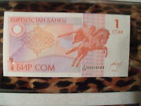 *Most Treasured Banknotes Kyrgystan 1993 1 Som  P-4  UNC 1/CH 00058583