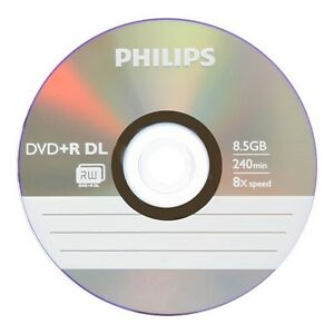 5 PHILIPS DVD+R DL Dual Double Layer 8.5GB 8X Disc with Paper Sleeves
