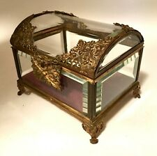 New listing Large 19th C French Bronze Curved Crystal Casket Box Rare