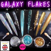 GALAXY HOLO FLAKES Gold Chrome Holographic Nail Sequins Unicorn Powder Rainbow