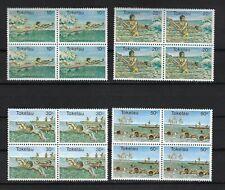 TOKELAU SCOTT # 73-6 WATER SPORTS BLOCKS OF 4 MNH