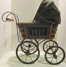 Antique doll carriage -bentwood frame -black heavy cotton hood & liner Vgc