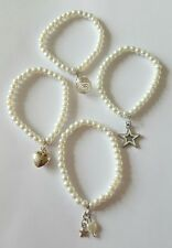 New Handmade job lot of 4 White Glass Pearl Elasticated Bracelets with Charms