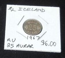 (ALMOST UNCIRCULATED) 1967 Iceland 25 Aurar Coin #2
