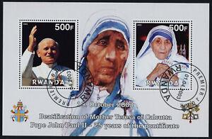 Rwanda s/s used(cto) - Pope John Paul II, Beatification of Mother Teresa
