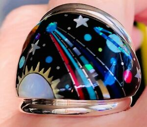 BAG AZZ RING NASA Celestial Planets Mens Opal ring 10 Star Space Exploration T