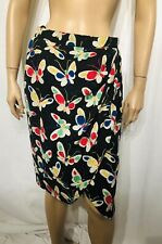 UNGARO SILK Skirt Black Multi Color Butterfly Print Faux Wrap S Lined MINI ITALY