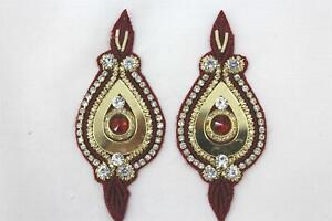 Patches - Thread Embroidery Handmade Zari Work Pack of 2 Pcs - 8 x 3.5 cm
