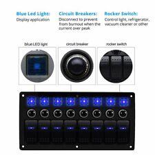 8 Gang LED Rocker Switch Panel 12/24V Circuit Breaker Car Marine Boat Waterproof
