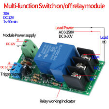 DC12V Delay Timer Switch Timing on/off Relay Module 0-60min 30A 250VAC/30VDC