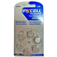 6pcs A675 PR44 7003ZD 675SA 1.4V Zinc Air Hearing Aid Battery PKCELL