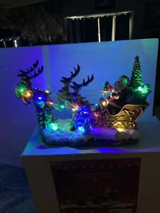 "Animated Lighted Christmas Tree Village 13"" Santa Motion Reindeer Sleigh Musical"