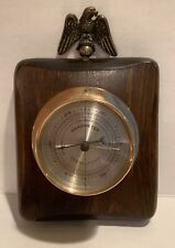 Vintage Brass Springfield Barometer on Wood Base with Eagle, Made USA