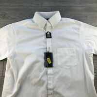 ROUNDTREE & YORKE SHORT SLEEVES SHIRT Button Up Size L White Summer Cotton
