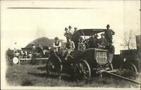 Farming Farmers Water Hose - Wagon & Threshing Scene c1910 Real Photo Postcard