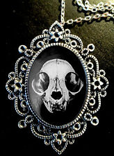 Cat Skull Large Antique Silver Pendant Brooch Necklace *Goth *Steampunk* Weird*