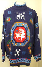 Christmas sweater 1980s Rafaella 2X Nordic decoration navy angora crewel