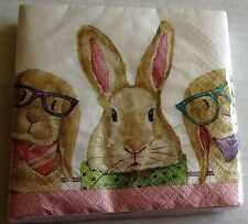 "EASTER Cocktail  Napkins 20 ct 2 Ply  9 4/5"" x 9 3/4""  BUNNY   GLASSES"