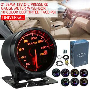 """2"""" 52mm Oil Pressure Gauge Pointer Digital 10 Color LED Psi Press Meter + Sensor"""