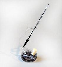 Glasfeder Glasfüller mit farbigen Tintenfass im Set Schwarz Glasfederhalter