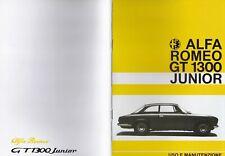 Alfa Romeo GT 1300 Junior cruscotto due gobbe 69-70 libretto uso e manutenzione