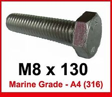 M8 x 130 MARINE Grade Stainless Steel Bolts 8mm x 130mm Hex Head x4 (A4/316)