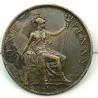Great Britain Victoria Bronze 1895 1 Penny BARGAIN XF/AU KM # 790